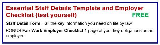 Essential Staff Details Template and Employer Checklist